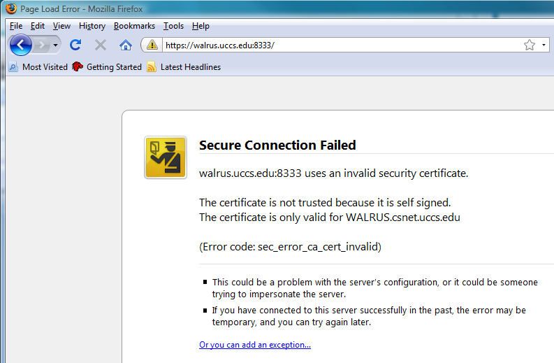 Click Get Certificate Then Hit Confirm Security Exception Button