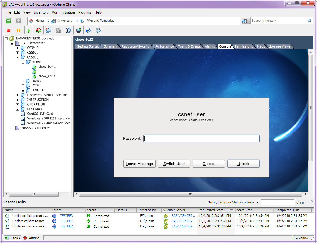 how to get out of console on vsphere